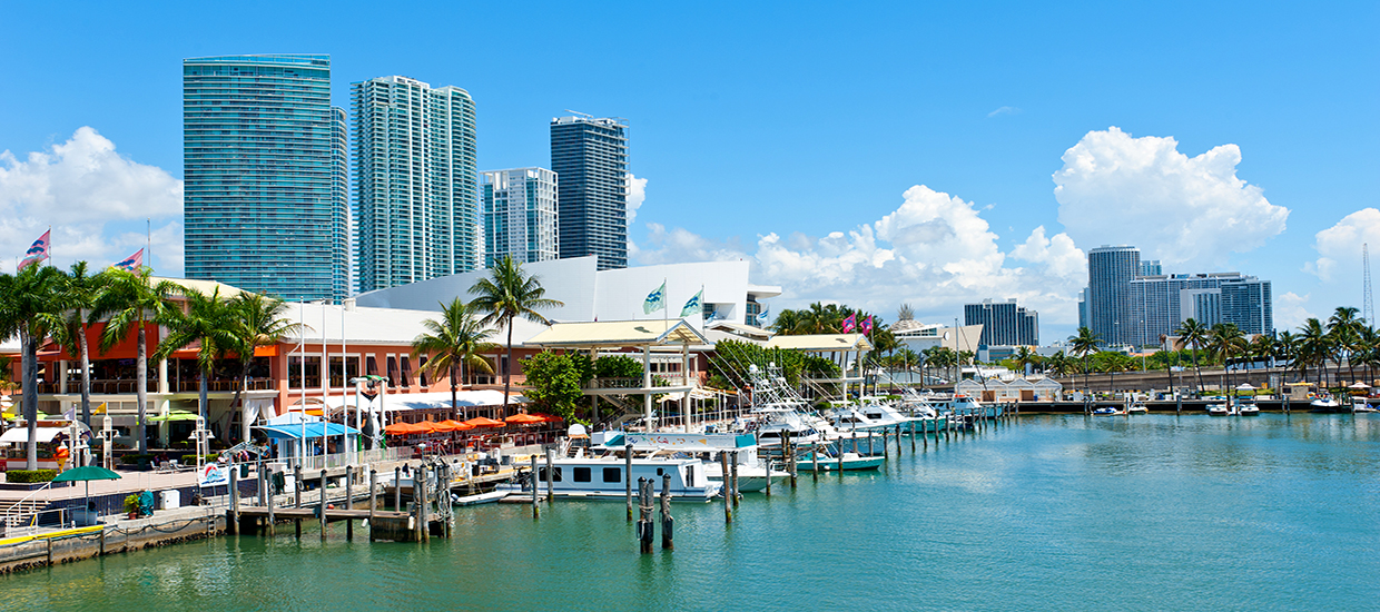 A stock photo of Bayside Marketplace in Downtown Miami, Florida.