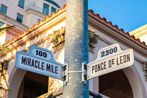 A stock photo of a street sign in Coral Gables, Florida.