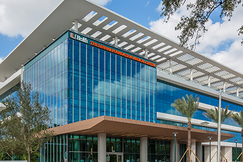 The Lennar Foundation Medical Center building on the University of Miami Coral Gables campus.