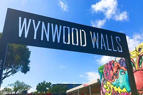 A stock photo of the Wynwood Walls sign in Miami, Florida.